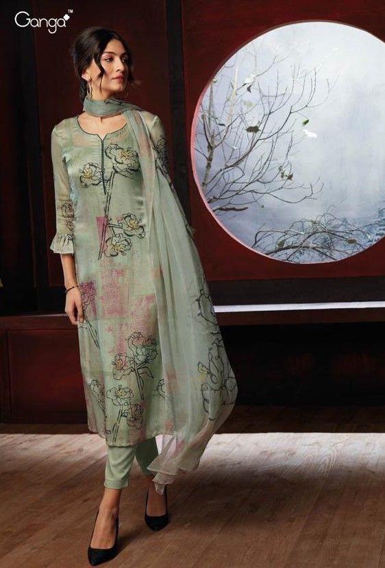 f1e7d07aba Ganga Circle of Amore Pure Silk Satin Salwar Suit D.No 6810 | #silk ...