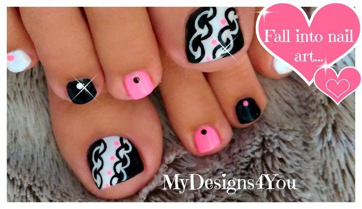 Hot Pink and Black Toenail Art Design ♥