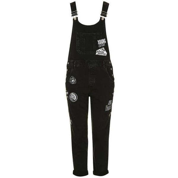 TopShop Moto Badged Long Dungarees ($100) ❤ liked on Polyvore featuring jumpsuits, long jumpsuit, topshop jumpsuit, topshop and cotton jumpsuit