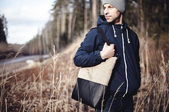 Jute Tote Bag Minimalist Bag Casual Simple by ArtTerraceTreasures