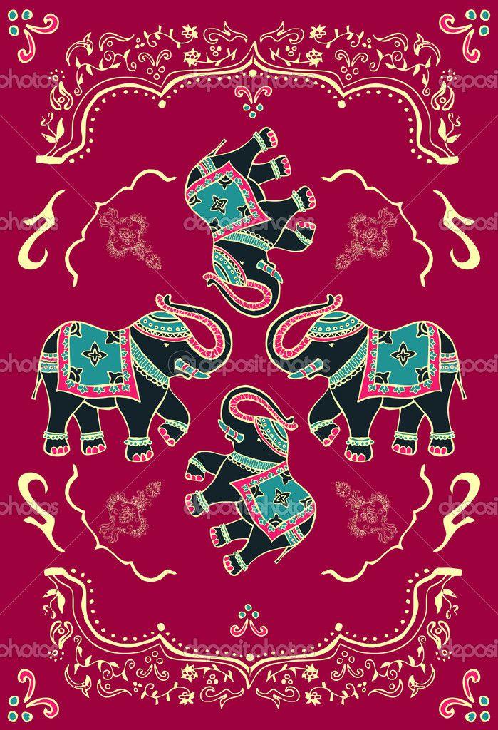 Праздничная типичный Индийский слон — Стоковая иллюстрация #10490552