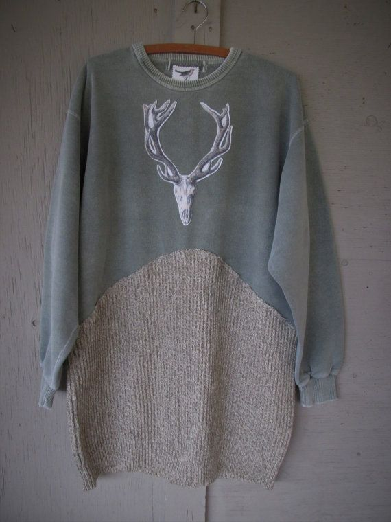 upcycled clothing artsy Antlers Sweatshirt by lillienoradrygoods