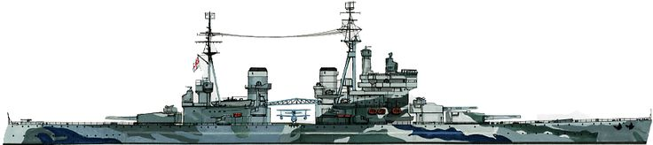 14 in battleship HMS Prince of Wales, the only one of the 5 ship KGV class not to survive WW2.  Brand new at the beginning of 1941, she was Hood's consort when the latter was lost engaging Bismarck in May, receiving 5 x 15 in and 3 x 8 in hits (the latter from Bismarck's accompanying cruiser Prinz Eugen), and was sunk by Japanese aircraft off Malaya on 10 December.