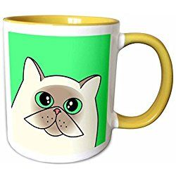 Himalayan Cat Mug Light Himalayan with Green Eyes Green - Yellow Mug Designed by Valentine Herty