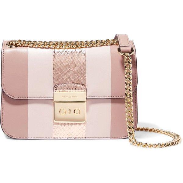 MICHAEL MICHAEL KORS   Shoulder Bags ($230) ❤ liked on Polyvore featuring bags, handbags, shoulder bags, shoulder hand bags, pink shoulder handbags, pink shoulder bag, pink purse and shoulder handbags