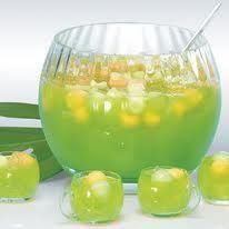 Malibu Maui Wowie Punch ~ Malibu Coconut Rum, Midori Melon Liqueur, Pineapple Juice, Orange Juice.
