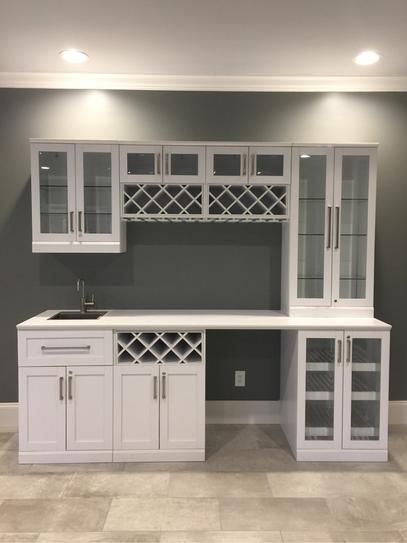 Newage Products Home Bar White 8 Piece Shaker Style Bar Cabinet