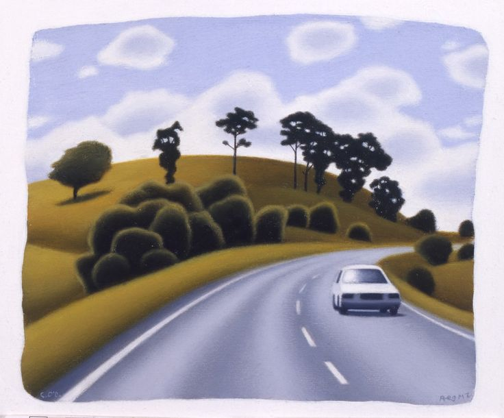 Reg Mombassa (Chris O'Doherty) Hillside with Road and Car