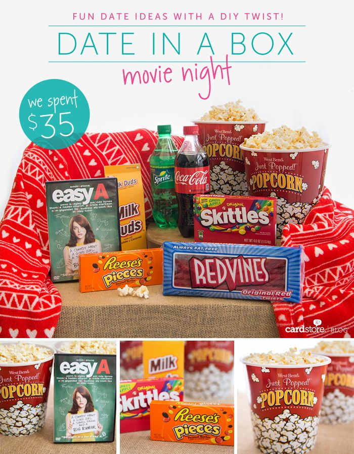 Movie Night Date in a Box! Everything you need for a romantic night in, all packaged up in one little box :)