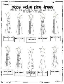 Pine Tree Place Value Freebie - Miss Kindergarten Love - TeachersPayTeachers.com