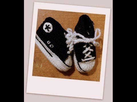 "Tutorial uncinetto - le scarpine bebè modello ""All Star"" - baby booties crochet - zapatitos crochet - YouTube"