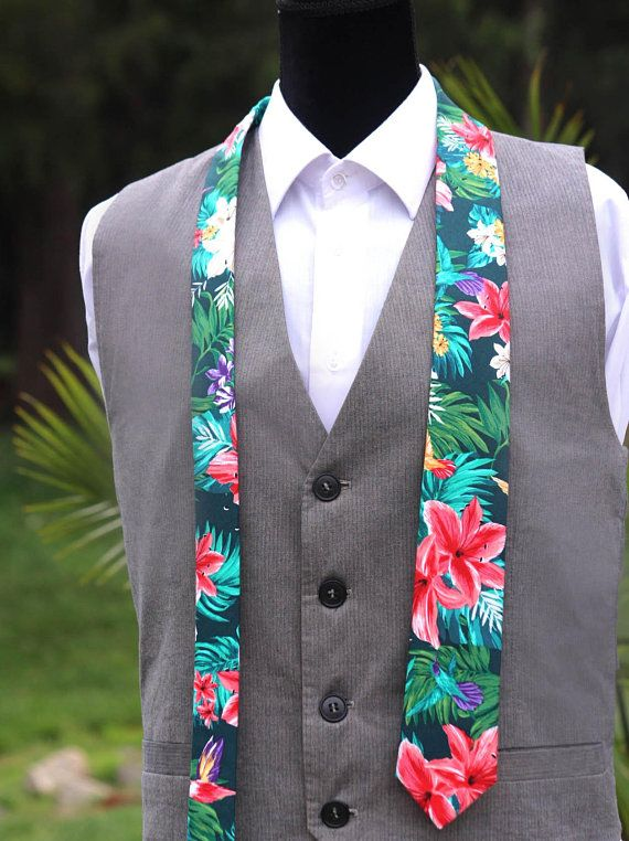 Aloha Blue Tropical Island Tuxedo Vest with Long Tie