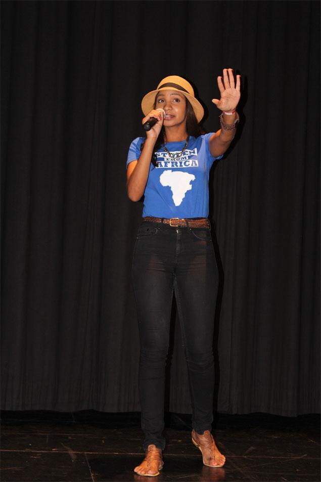 Yusra Khogali stolen from africa t-shirt