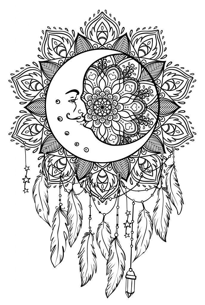 graphic regarding Printable Adult Coloring Pages Dream Catchers referred to as Colorear mandalas atrapasueños Coloring obsession Moon