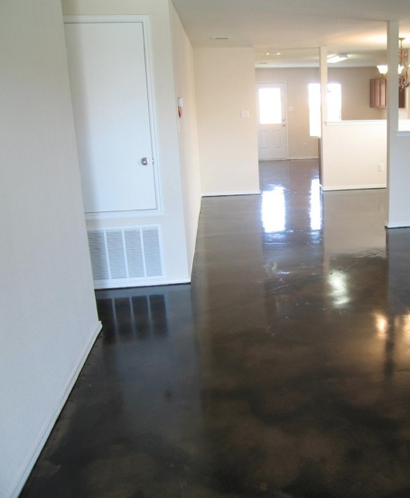 Dark black stained concrete floors for my future kitchen to match the dark  hardwood in house someday Baby stuff