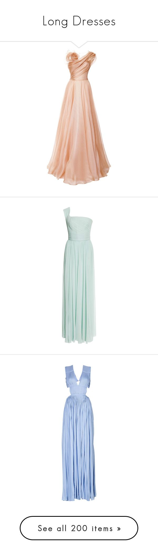 """Long Dresses"" by carlou863 ❤ liked on Polyvore featuring dresses, gowns, long dress, vestidos, nude, long pink dress, silk dress, silk evening gowns, asymmetrical dresses and long silk dress"