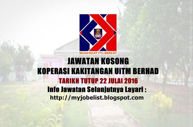 Jawatan Kosong di Koperasi Kakitangan UiTM Berhad - 22 Julai 2016  Jawatan kosong terkini di Koperasi Kakitangan UiTM Berhad. Permohonan adalah dipelawa daripada warganegara Malaysia yang berkelayakan untuk mengisi kekosongan jawatan kosong terkini yang ditawarkan oleh Koperasi Kakitangan UiTM Berhad sebagai:1. Penolong Pegawai Teknologi Maklumat Tarikh tutup permohonan pada 22 Julai 2016 Negeri : Selangor Sektor : Swasta  Syarat dan kelayakan : 1. Warganegara Malaysia 2. Berumur tidak kuran…