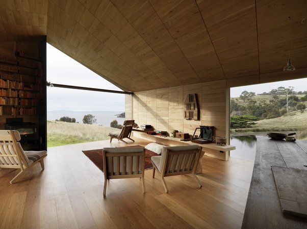 """""""The Shearer's Quarters"""" by Australian architecture firm John Wardle Architects. This new building sits beside an existing historical home where the original shearer's shed stood before fire destroyed it. Galvanised iron externally, timber internally, the bedrooms lined with old apple crates."""