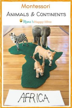 Included are several fun hands-on activities for learning all about Montessori animals and continents. Plus, an animal and continent printable bundle! - www.mamashappyhive.com #animals #continents #montessori #handsonlearning