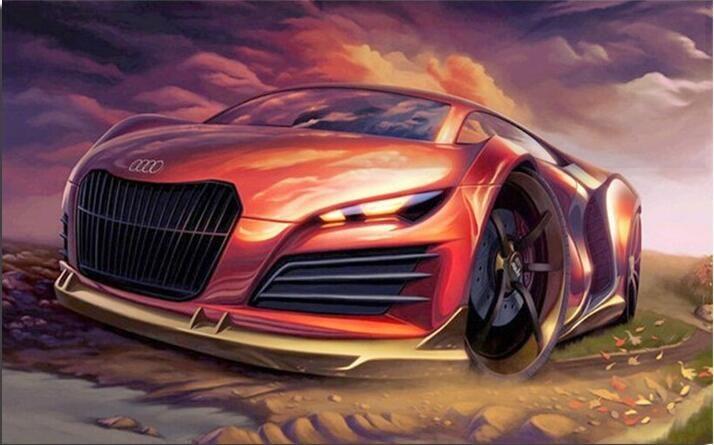 Audi sport car  3D DIY diamond painting 100% full round drill cross stitch embroidery rhinestone decoration  YZ018c //Price: $8.99 & FREE Shipping //     #hashtag3