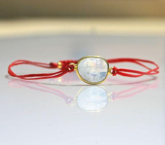 Friendship bracelet moon stone gemstone gold by marysartjewelry, $20.00