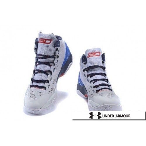 UA Curry 2 - Womens UA Curry 2 White Blue Red Basketball Shoes ... dc7f5a80d5