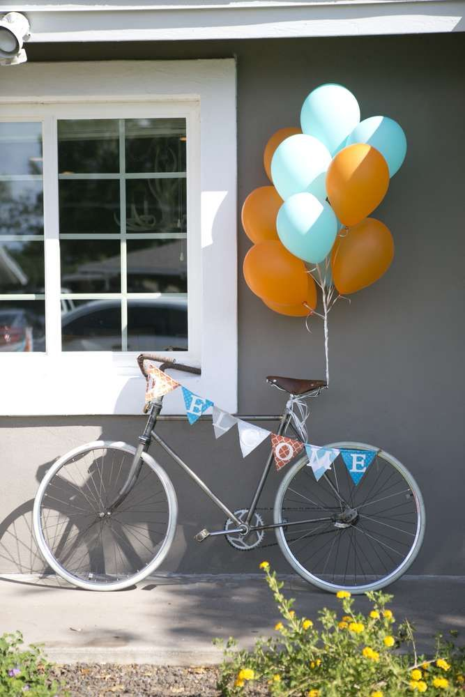Decorations at a bikes and breakfast birthday party!  See more party planning ideas at CatchMyParty.com!