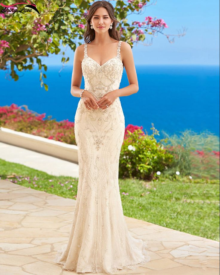 Hand Beaded Couture Style Mermaid Wedding Dress Autumn Collection