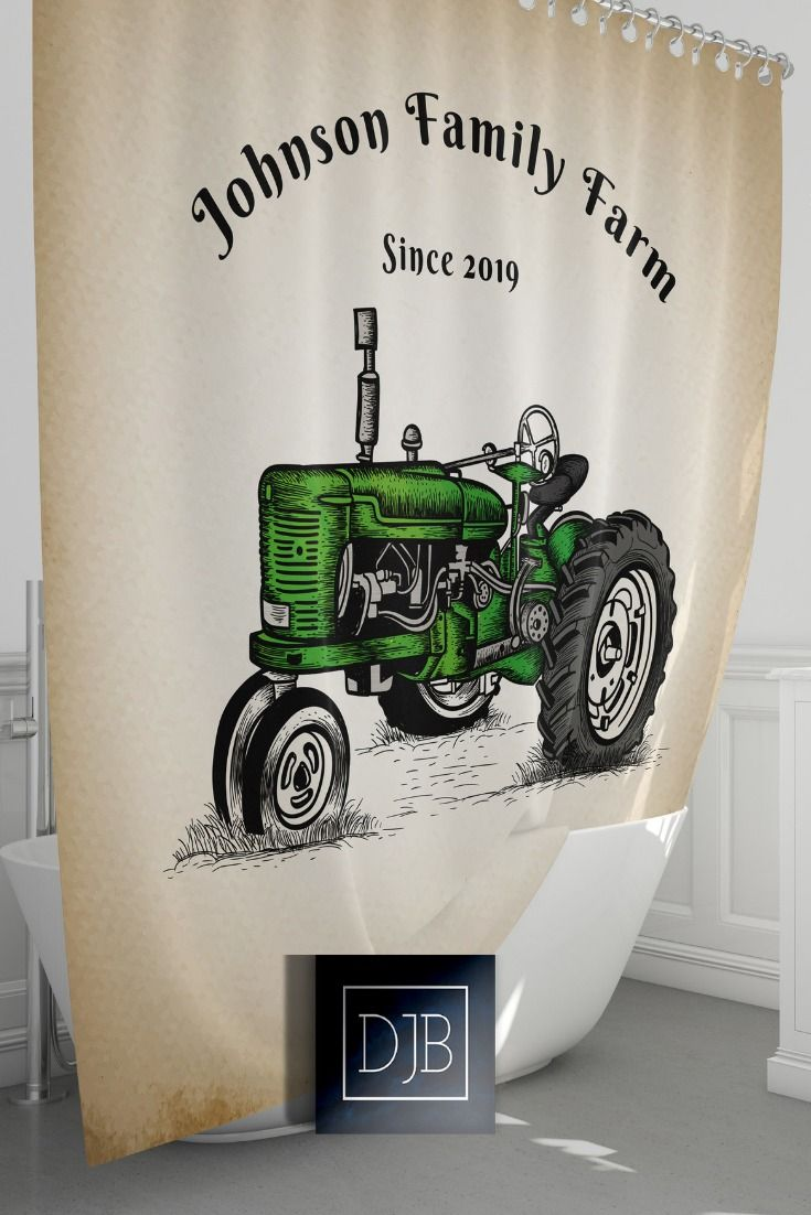 Personalized Green Tractor Farm Shower Curtain Rustic Beige
