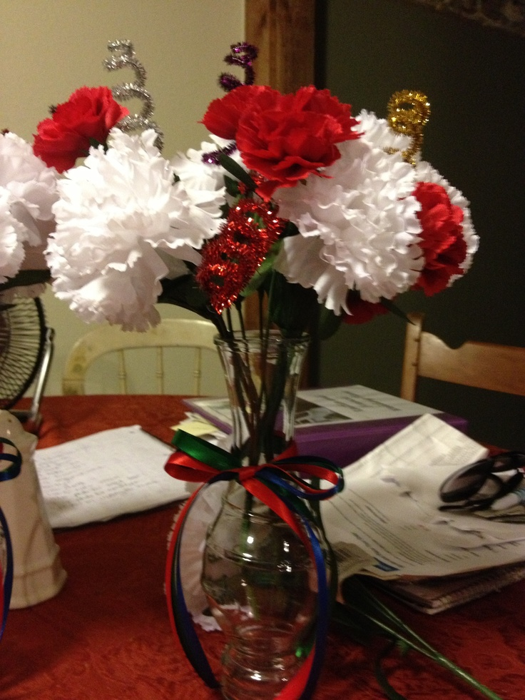 Table centerpiece made entirely from dollar tree items