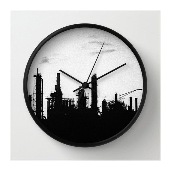 black industrial wall clock