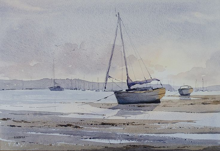"Oliver Pyle ~ ""Low Tide, oole Harbor"" ~ Watercolor  35 x 24 cm"