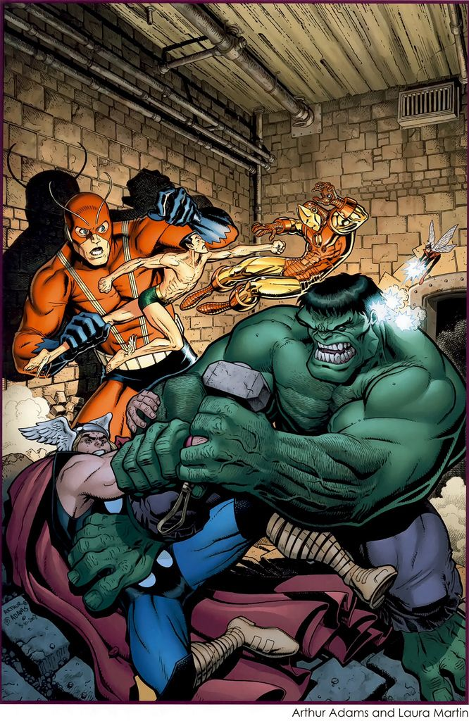 Art Adams depiction of the events in Avengers#3(1964). The original Avengers vs the Hulk and Sub-Mariner on the Rock of Gibraltar.