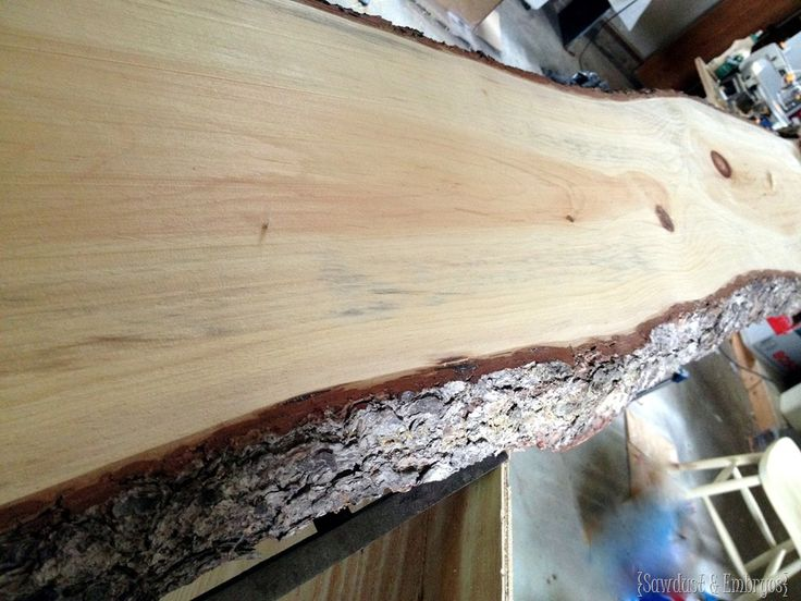 Using live-edge slab of wood for countertop of breakfast bar! {Sawdust and Embryos}
