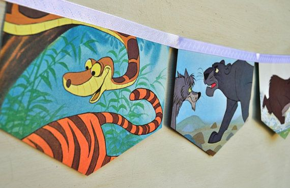 THE JUNGLE BOOK Vintage Little Golden Book storybook  Bunting Banner Paper Children story book Decoration Eco  Baby Shower Birthday Party