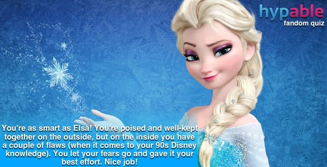 Quiz: Using 90s Disney movie trivia, which 'Frozen' character are you? I got Elsa!!