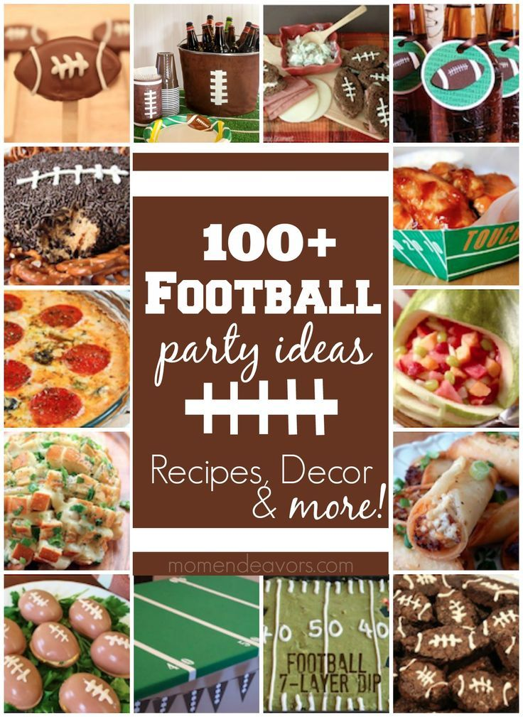 100+ Football party ideas, complete with recipes, crafts, decor, and more via http://momendeavors.com!