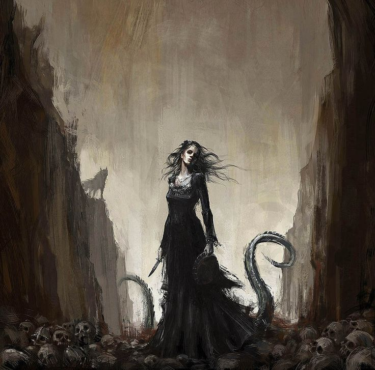 "Hella, Hela, Halja Hel is the Norse Goddess of the dead and underworld, ruler of the Land of Mist.  Her name is thought to mean 'hidden', 'to conceal', or 'to cover up'.  To say to ""go to Hel…"