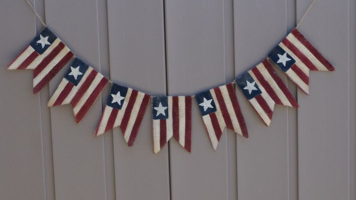 American Flag Banner, Patriotic Banner, Patriotic Bunting, 4th of July Banner, Patriotic Decor, Primitive Burlap Bunting Garland, Americana by LittleBitLefty on Etsy https://www.etsy.com/listing/244646107/american-flag-banner-patriotic-banner