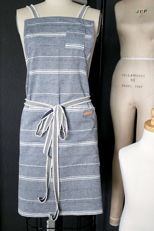 DIY: modern linen and leather apron