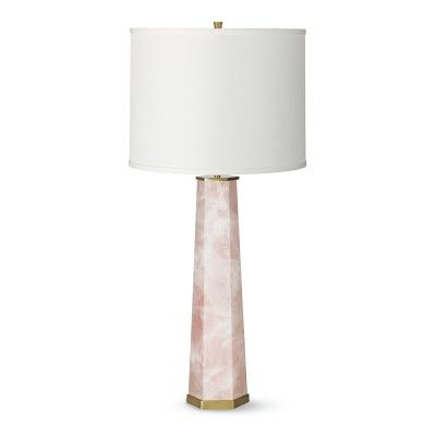 Tall cut stone table lamp rose quartz with ivory shade