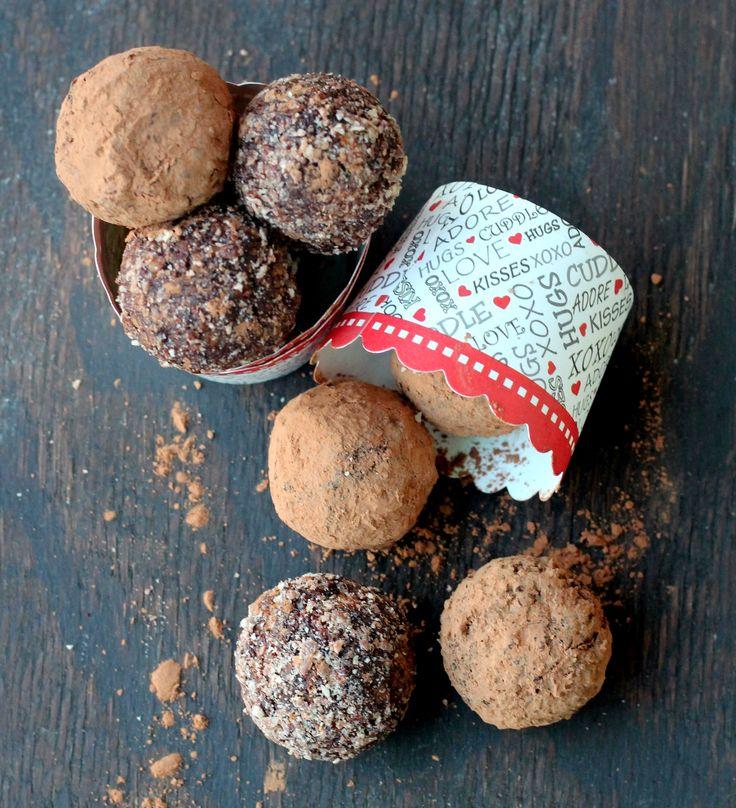 Healthy Ferrero Rocher Truffles -  GF  Healthy spin to Ferrero Rocher  with dates, cocoa powder, and hazelnuts!