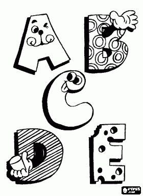 Brieven A, B, C, D en E met grappige tekeningen kleurplaat