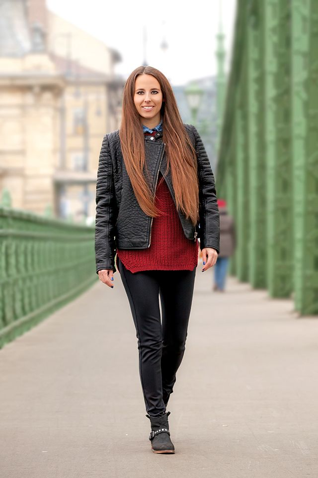 Festy in style - Mango jacket redwine sweater outfit