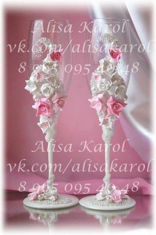glasses for wedding champagne flutes  any color by AlisaKarol