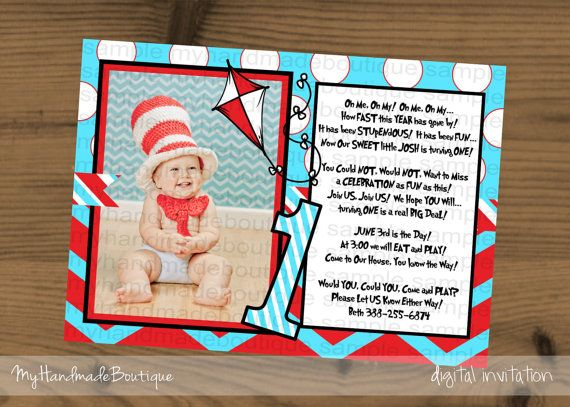 Aqua and Red Photo 1st First Birthday Invitation Dr. Seuss Birthday Party Theme Cat in the Hat Party Theme Baby Shower Kite dots chevron