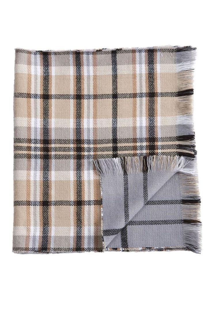 """Acrylic knit rectangular blanket scarf is reversible with coordinating patterns on both sides.  Scarf Measures 22"""" x 74"""".  Plaid Blanket Scarf by Mud Pie. Accessories - Scarves & Wraps New Jersey"""