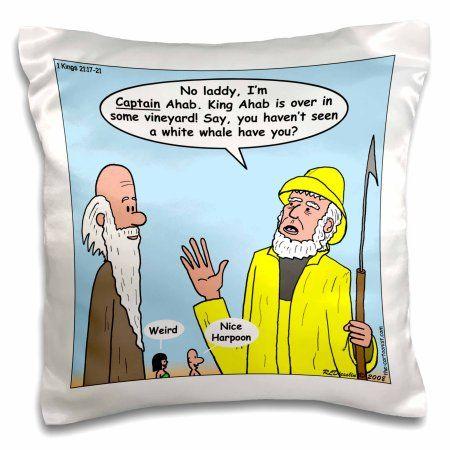 3dRose 1st Kings 21 1 2 17 21 Thar She Blows Bible Elijah king ahab captain Ahab harpoon white whale , Pillow Case, 16 by 16-inch