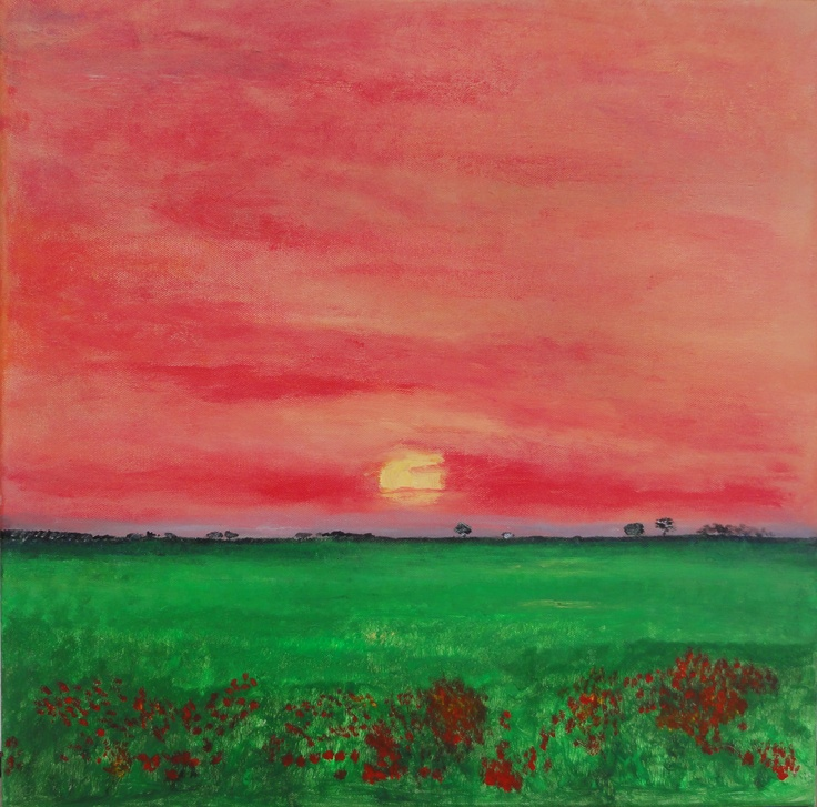 AFRICAN DAWN  A new day awaits as the harsh African sun rises over a field of poppies. Strong use of red, orange and green captures the vibrancy of the rich soil.
