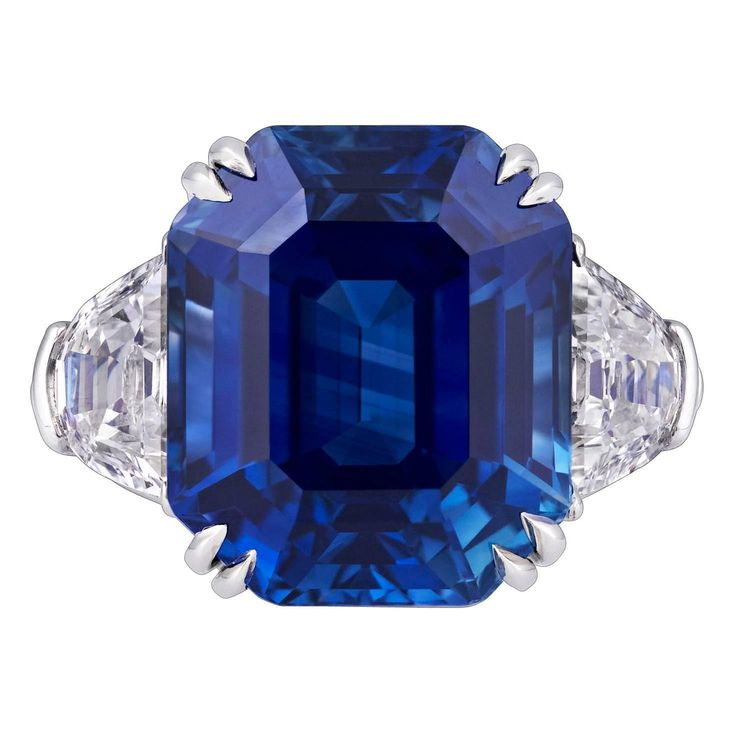 18.50 Carat Untreated Kashmir Sapphire Diamond Platinum Ring   From a unique collection of vintage cocktail rings at https://www.1stdibs.com/jewelry/rings/cocktail-rings/
